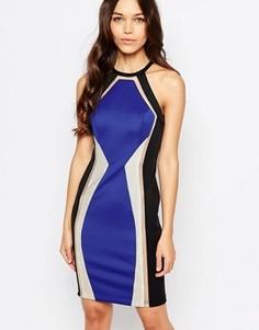 Платье мини с отделкой Forever Unique Devi Pancel - Синий