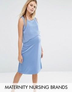 Платье для кормления без рукавов с оборкой Mamalicious - Синий Mama.Licious