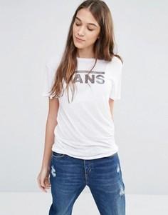 Белая футболка бойфренда с классическим логотипом Vans - Белый
