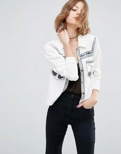 Куртка с вышивкой First & I - Кремовый
