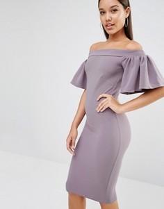 Платье миди с оборкой Oh My Love - Серый