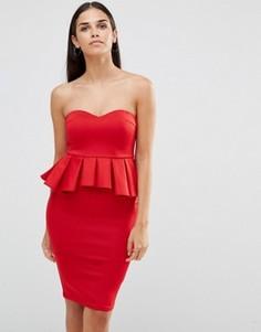 Платье миди в стиле бандо с баской AX Paris - Красный