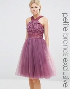 Платье с перекрестным передом, цветочной аппликацией и юбкой из тюля Chi Chi London Petite - Розовый