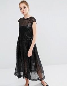 Платье с присборенной юбкой и пайетками Sister Jane - Черный