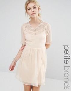 Короткое приталенное платье с сетчатой кокеткой Vero Moda Petite - Кремовый