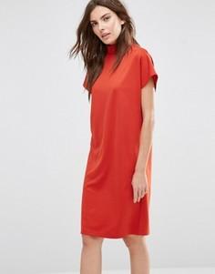 Свободное платье-футболка с высоким воротником Vila - Красный