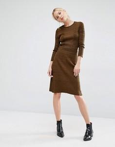 Вязаная меланжевая юбка в рубчик Gestuz Jannice - Зеленый