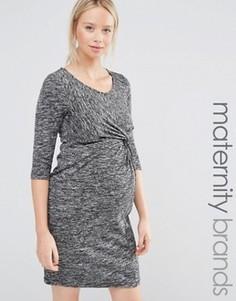 Меланжевое трикотажное платье для беременных с рукавами 3/4 Mamalicious - Серый Mama.Licious