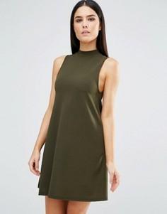 Платье-трапеция с высокой горловиной AX Paris - Зеленый