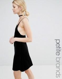 Бархатное платье на бретельках Vero Moda Petite - Черный
