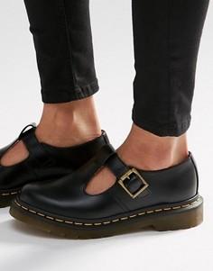 Туфли на плоской подошве с Т-образным ремешком Dr Martens Core Polley - Черный