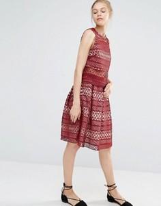 Кружевная плиссированная юбка Endless Rose - Красный