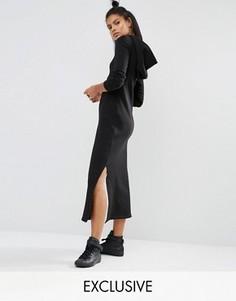 Платье макси с длинными рукавами и капюшоном Nocozo - Черный