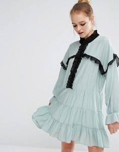 Свободное платье с рюшами Sister Jane - Синий