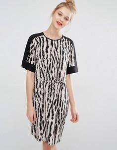Платье с принтом и завязкой на талии BCBG Max Azria - Мульти
