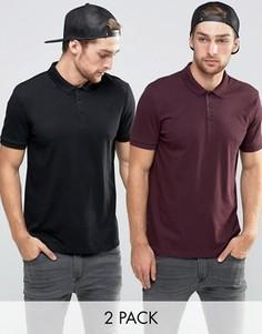 Набор из 2 трикотажных футболок-поло (бордовая/черная) ASOS - СКИДКА - Мульти