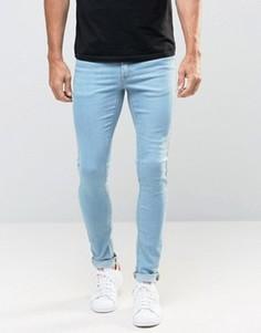 Ультразауженные выбеленные джинсы скинни ASOS - Синий
