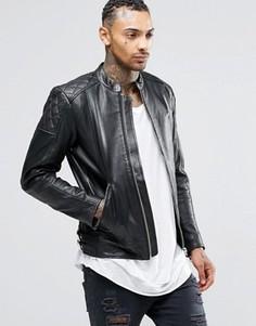 Кожаная байкерская куртка Diesel L-Marton - Черный