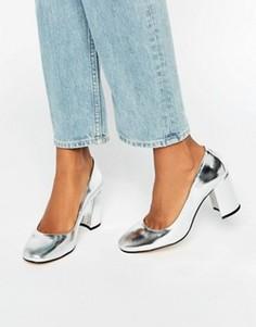 Серебристые кожаные туфли на каблуке с квадратным носком Dune Abell - Серебряный