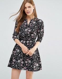 Платье мини с цветочным принтом и рукавами 3/4 Yumi - Черный