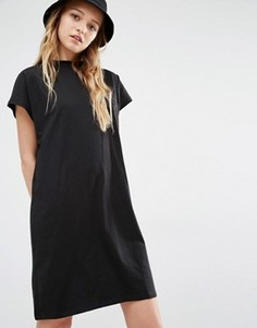Платье-футболка с высокой горловиной Weekday - Черный