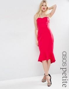 Платье миди в стиле бандо с баской по краю ASOS PETITE - Красный