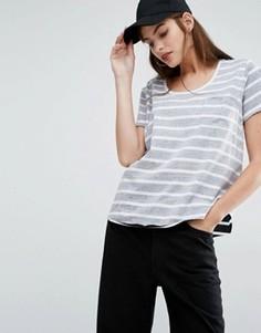 Двусторонняя футболка в полоску First Base - Серый