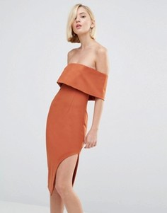 Асимметричное платье миди с глубоким лифом-бандо Lavish Alice - Рыжий