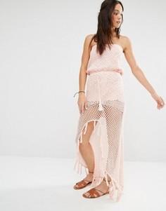 Пляжное платье макси в стиле кроше с разрезом Minkpink - Розовый