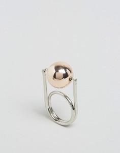 Кольцо с вращающимся шаром DesignB London - Серебряный
