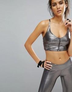 Кроп-топ цвета металлик на молнии Haute Body Yoga - Серый