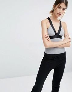Боди в рубчик с контрастной отделкой Vero Moda - Серый