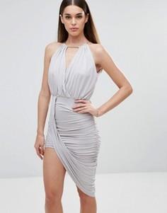 Платье с перекрестом спереди и асимметричным подолом Sistaglam - Серый