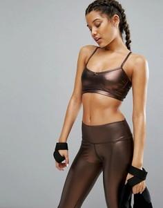 Укороченный топ металлик медного цвета Haute Body Yoga - Медный