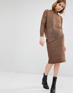 Меланжевая юбка-карандаш Paisie - Коричневый