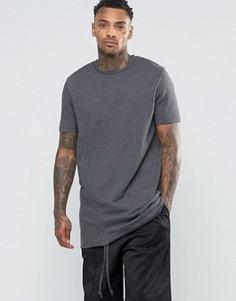 Удлиненная футболка из плотного трикотажа с драпировками по бокам ASOS - Серый