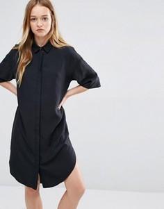 Платье-рубашка из купро Native Youth - Черный