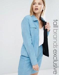 Комбинируемая замшевая куртка на молнии с воротником Adpt Tall - Синий
