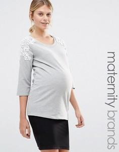 Свитшот с кружевными вставками на плечах Mamalicious - Серый Mama.Licious