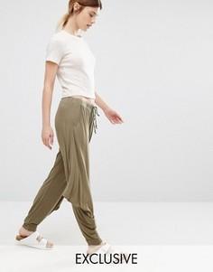 Черные брюки в стиле casual свободного кроя Stitch & Pieces - Зеленый