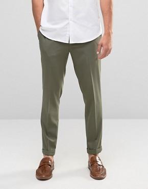 Укороченные зауженные строгие брюки цвета хаки ASOS - Зеленый
