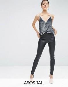 Облегающие брюки из искусственной кожи ASOS TALL - Черный