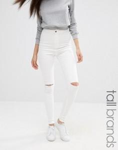 Белые джинсы скинни с завышенной талией и прорехами Missguided Tall Vice - Белый