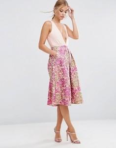 Юбка для выпускного с винтажным цветочным узором ASOS - Розовый