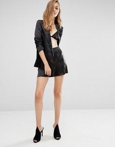 Атласные шорты с завышенной талией Missguided Premium - Черный