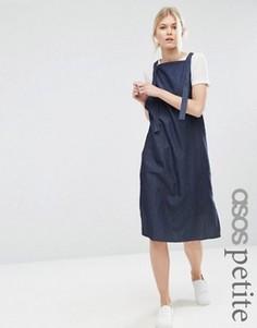 Синее джинсовое платье‑сорочка в стиле комбинезона ASOS PETITE - Синий