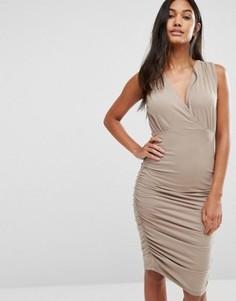 Присборенное платье без рукавов Supertrash Day - Бежевый