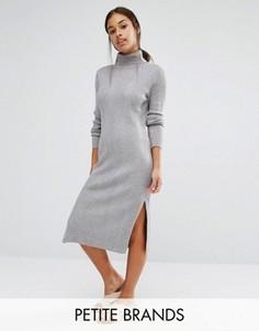 Платье миди с отворачивающимся воротником Vero Moda Petite - Серый