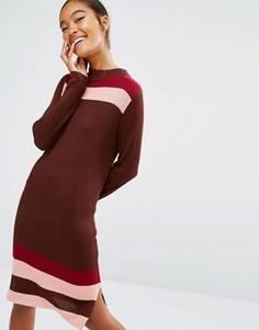 Вязаное платье в стиле колор блок с полосками First & I - Фиолетовый