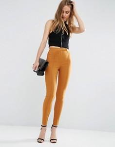 Облегающие брюки с завышенной талией ASOS - Рыжий